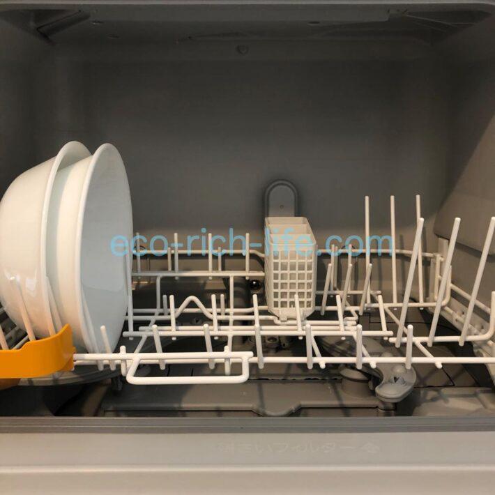 コレールのお皿が食洗機の左側にジャストフィットしている写真