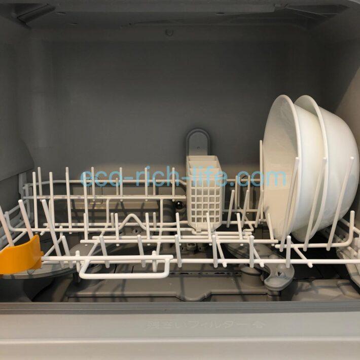 コレールのお皿が食洗機の右側にジャストフィットしている写真、