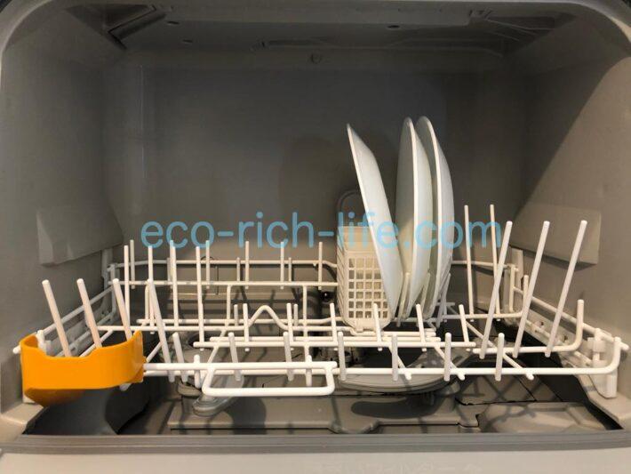コレールのお皿が食洗機の中央にジャストフィットしている写真