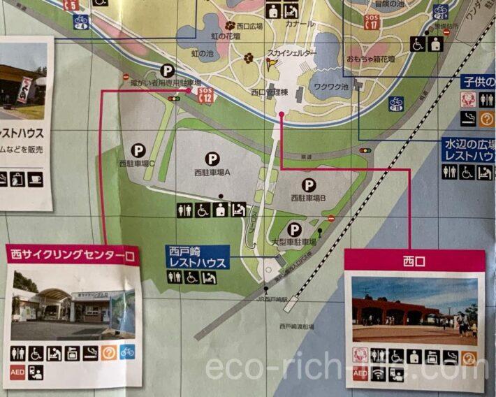 海の中道海浜公園のオススメ駐車場、西駐車場の図