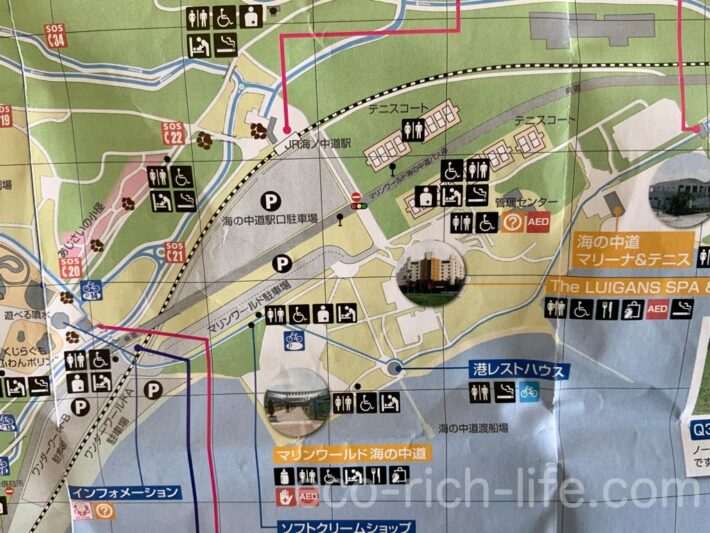 海の中道海浜公園のオススメ駐車場、マリンワールド&ワンダーワールド口&海の中道駅口駐車場の図